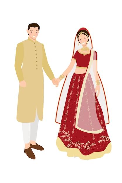 Belle coppie indiane sposi in abito tradizionale sari matrimonio rosso Vettore Premium