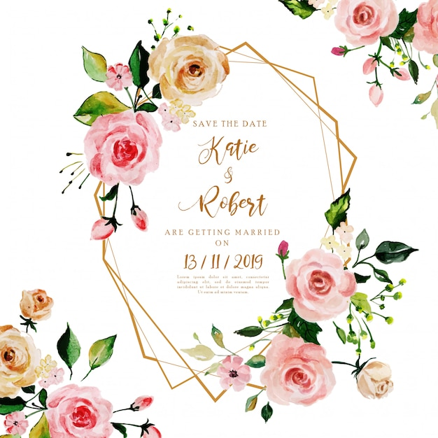 Belle cornici floreali ad acquerello, inviti di nozze Vettore Premium