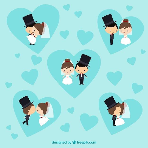 Belle spose e sposi Vettore gratuito
