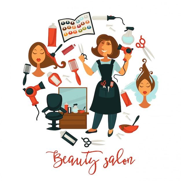 Bellezza dei capelli o donna parrucchiere illustrazione per tinture per capelli professionale, Vettore Premium