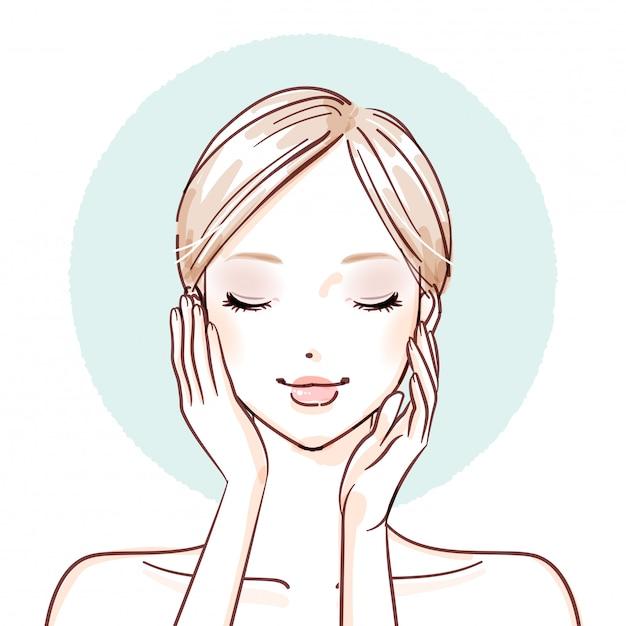 Bellezza woman_both le mani sulle guance Vettore Premium