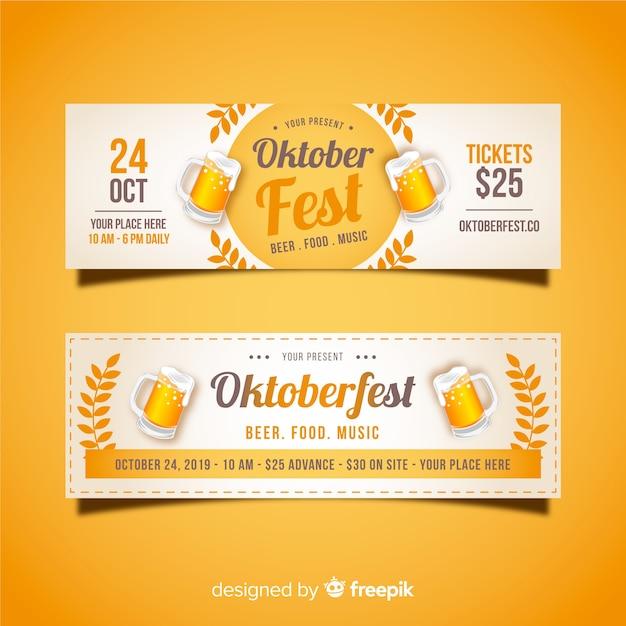 Belli striscioni oktoberfest con design piatto Vettore gratuito