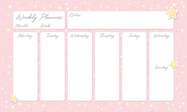 Bellissima agenda settimanale rosa con stelle Vettore Premium