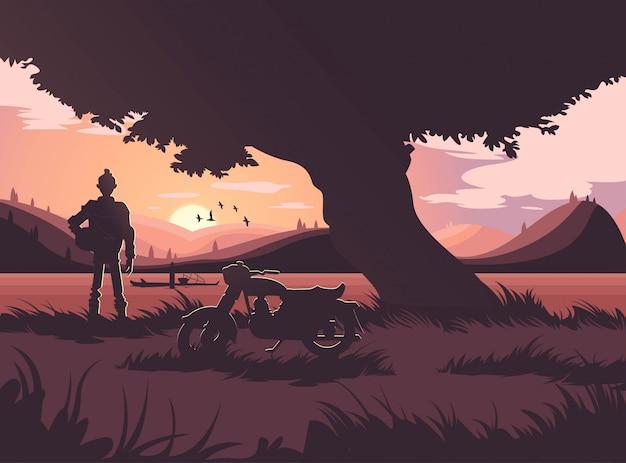 Bellissima alba, scena del tramonto Vettore Premium