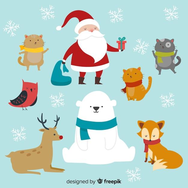 Bellissima collezione di personaggi natalizi Vettore gratuito