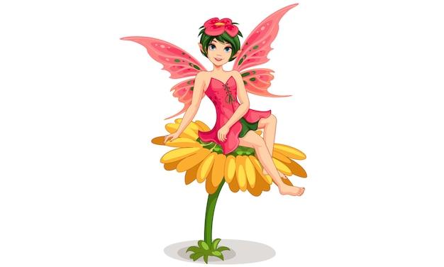 Bellissima fata dei fiori Vettore Premium