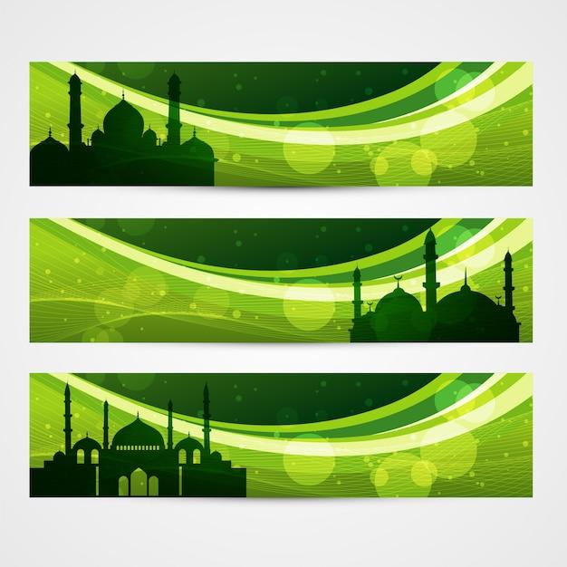 Bellissima serie di bandiere ramadan e eid Vettore gratuito