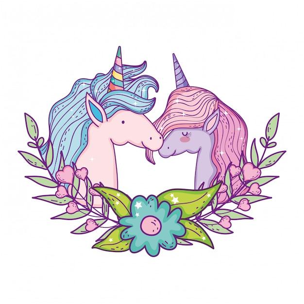 Bellissime teste di coppia di unicorni Vettore Premium