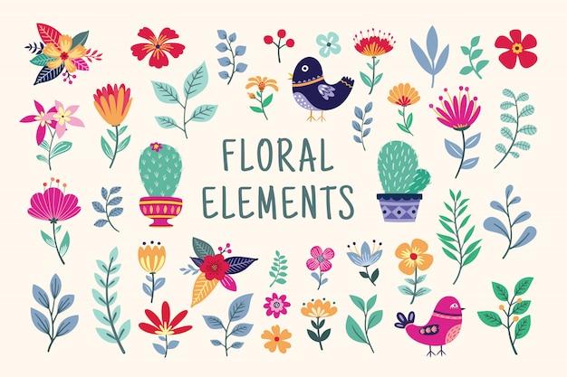 Bellissimi elementi floreali Vettore Premium