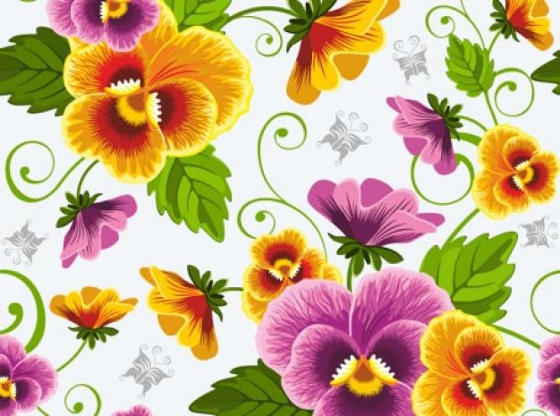 Bellissimi fiori background vector set Vettore gratuito