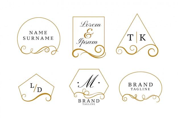 Bellissimi loghi eleganti o collezione monogrammi di nozze Vettore gratuito