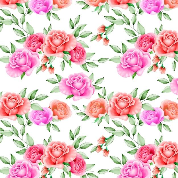 Bellissimo acquerello floreale e foglie senza motivo Vettore Premium