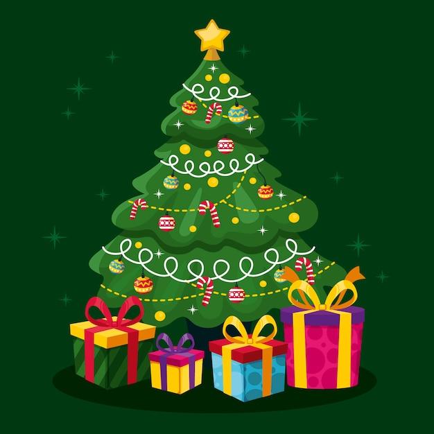 Bellissimo albero di natale 2d Vettore gratuito