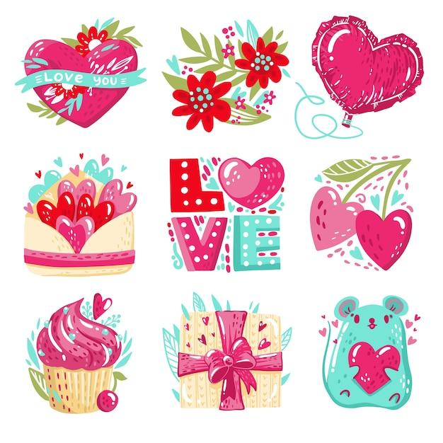 Bellissimo badge per san valentino Vettore gratuito