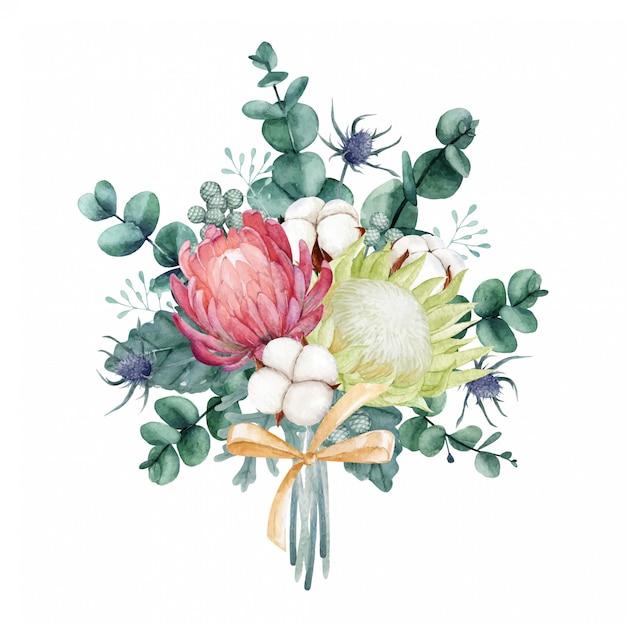 Bellissimo bouquet ad acquerello Vettore Premium