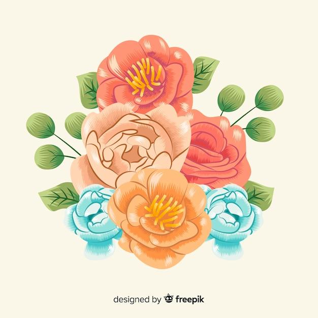 Bellissimo bouquet floreale vintage Vettore gratuito