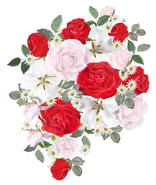Bellissimo bouquet floreale Vettore Premium