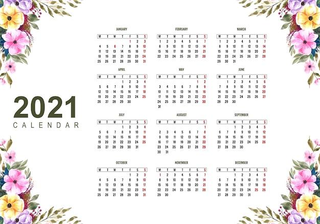 Bellissimo calendario 2021 con disegno floreale colorato | Vettore