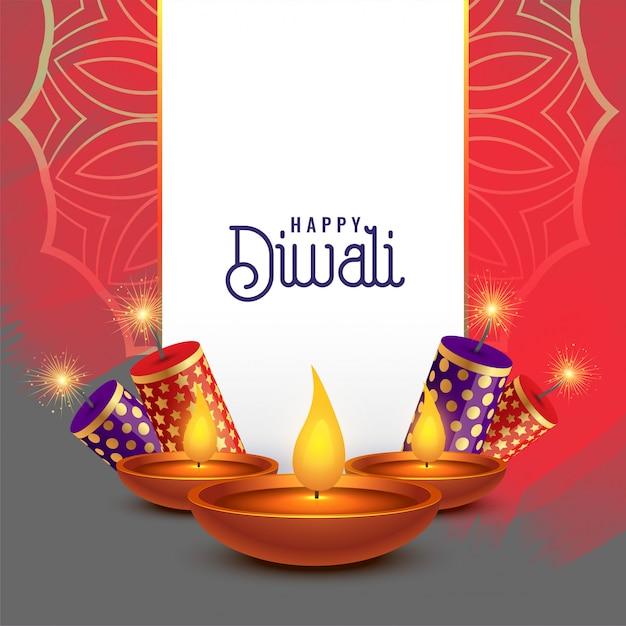 Bellissimo disegno di carta diwali con cracker Vettore gratuito