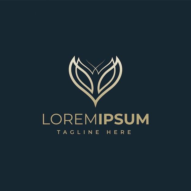 Bellissimo fiore logo design vettoriale Vettore Premium