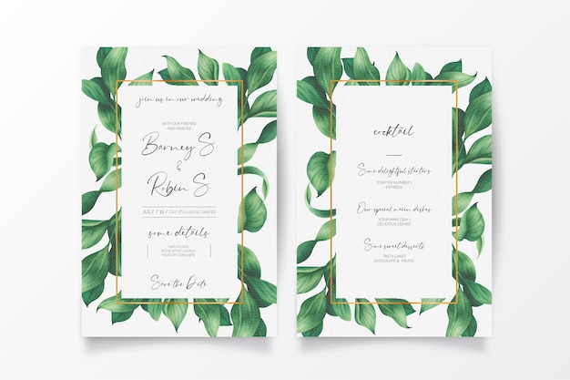 Bellissimo invito a nozze e menu con foglie selvatiche Vettore gratuito