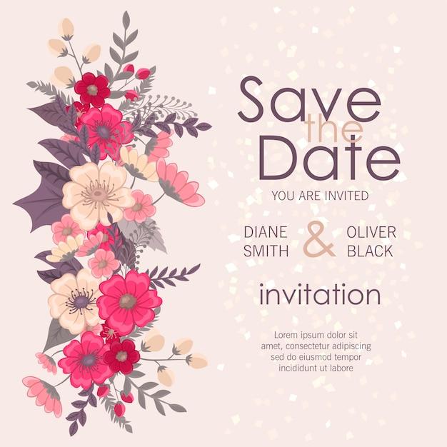 Bellissimo invito a nozze floreali Vettore Premium