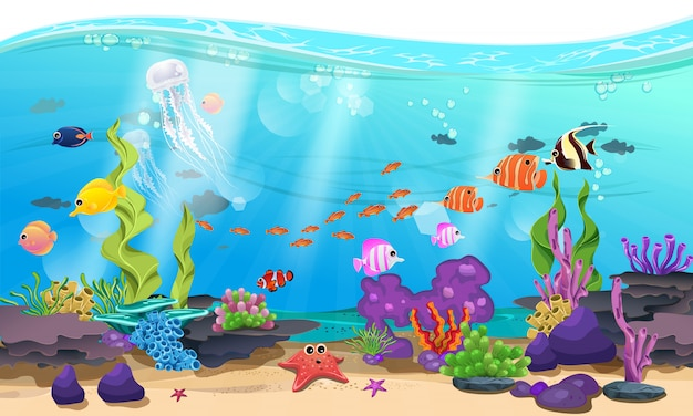 Bellissimo mare con coralli, scogli e pesci Vettore Premium