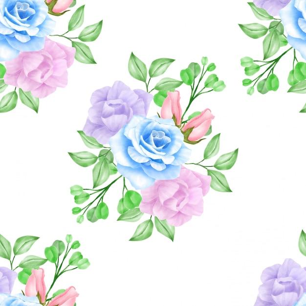Bellissimo modello dei segni della rosa di rose dell'acquerolor dell'acquerello Vettore Premium