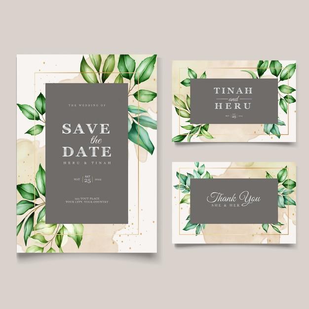 Bellissimo modello di carta di nozze foglie dell'acquerello Vettore gratuito