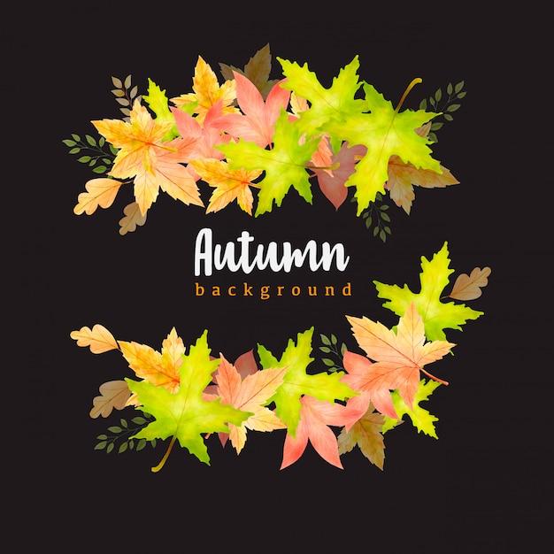 Bellissimo modello di sfondo corona di foglie di autunno dell'acquerello Vettore Premium
