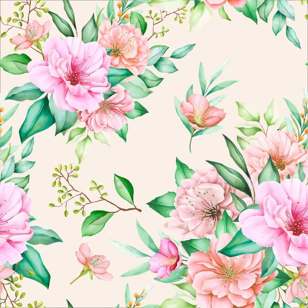 Bellissimo motivo floreale e foglie senza soluzione di continuità Vettore gratuito