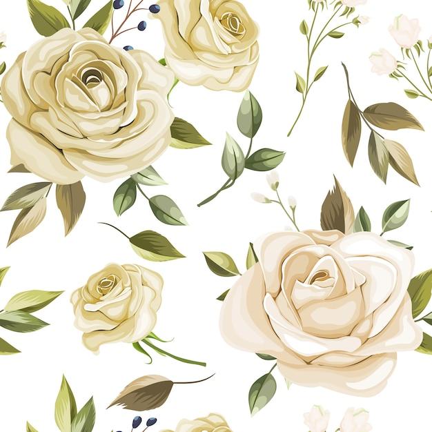 Bellissimo motivo floreale e foglie senza soluzione di continuità Vettore Premium