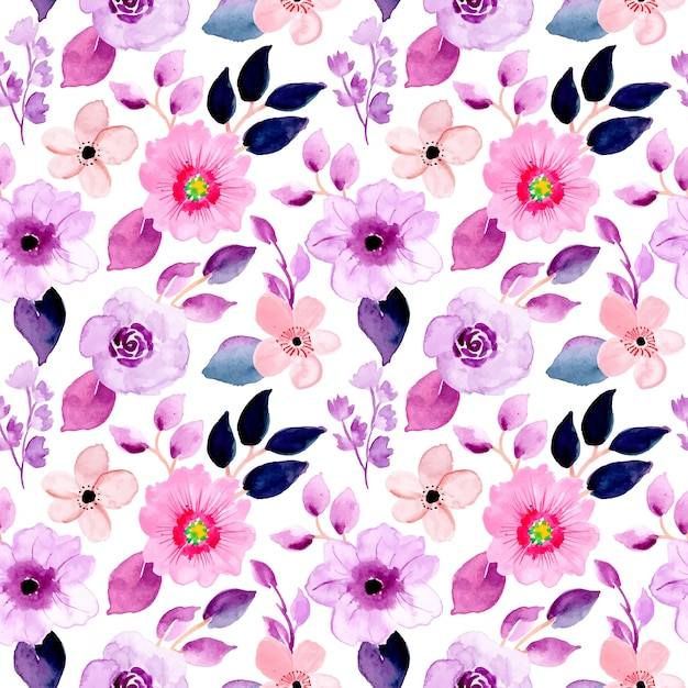 Bellissimo motivo floreale viola ad acquerello Vettore Premium