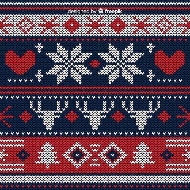 Bellissimo motivo natalizio lavorato a maglia Vettore gratuito