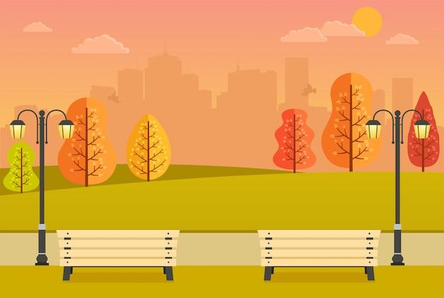 Bellissimo parco autunnale con panchine, alberi gialli e arancioni e Vettore Premium