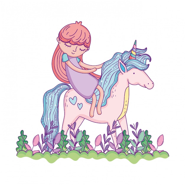 Bellissimo piccolo unicorno con la principessa nel paesaggio Vettore Premium