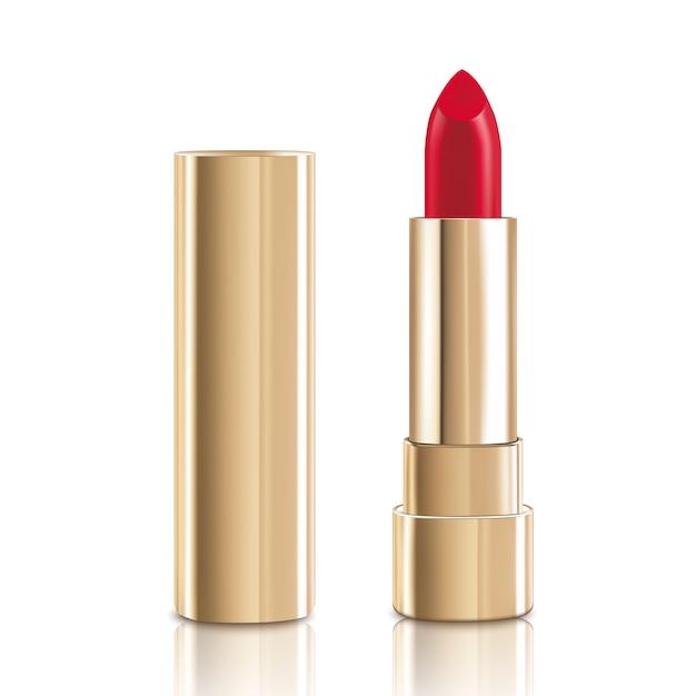 Bellissimo rossetto rosso con coperchio in oro. Vettore Premium