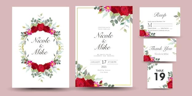 Bellissimo set di biglietto di auguri decorativo o invito con disegno floreale Vettore Premium