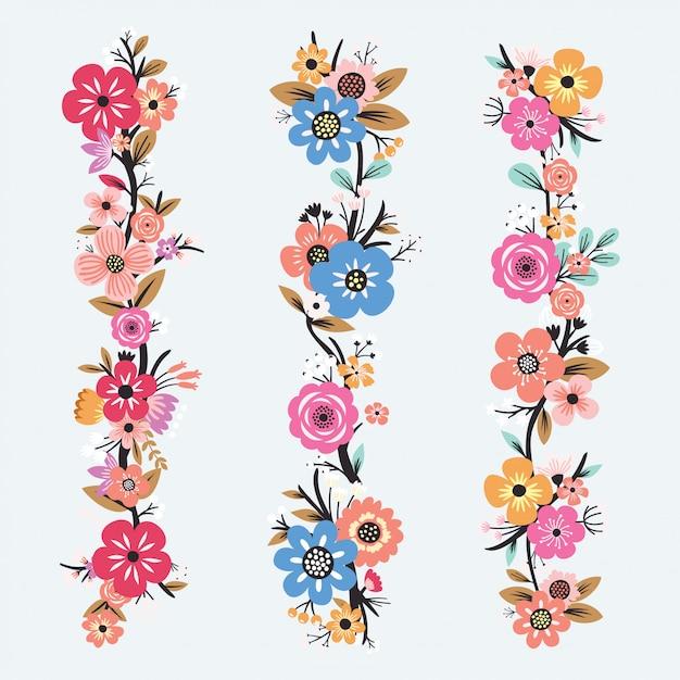 Bellissimo set di fiori Vettore Premium