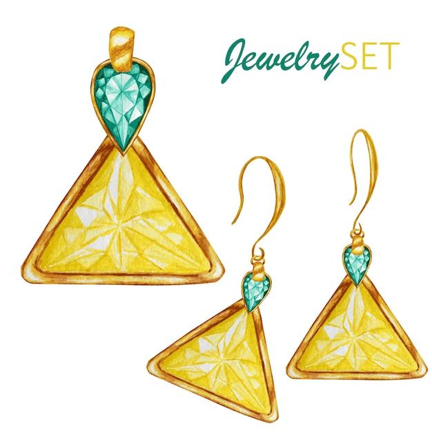 Bellissimo set di gioielli. ciondolo e orecchini d'oro. perline con gemme di cristallo a goccia e triangolo con elemento in oro. disegno ad acquerello Vettore Premium