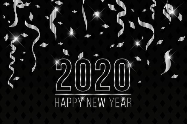 Bellissimo sfondo argento del nuovo anno 2020 Vettore gratuito