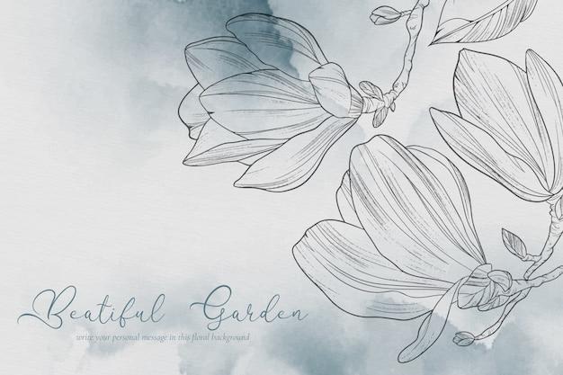 Bellissimo sfondo con fiori di magnolia Vettore gratuito