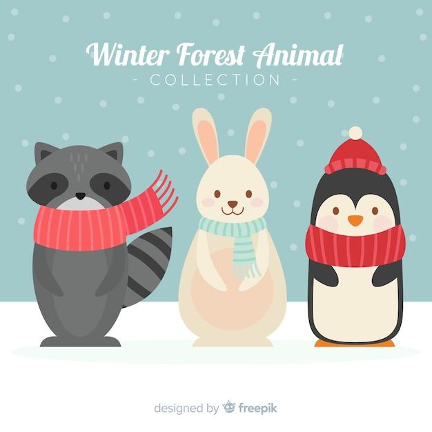 Bellissimo sfondo di animali invernali Vettore gratuito