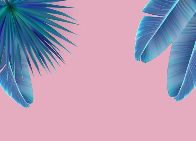 Bellissimo sfondo di foglia di palma. Vettore Premium