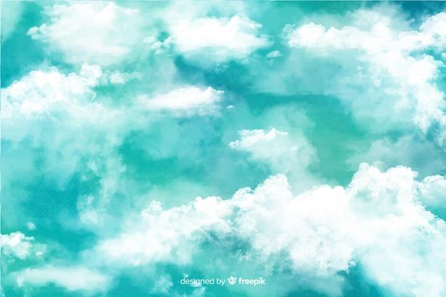 Bellissimo sfondo di nuvole ad acquerello Vettore gratuito