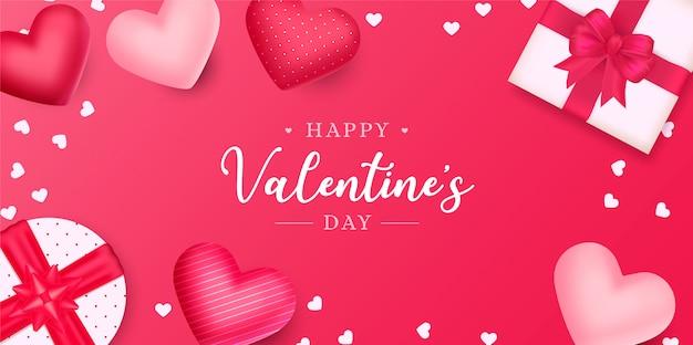 Bellissimo sfondo di san valentino con cuori e regali Vettore gratuito