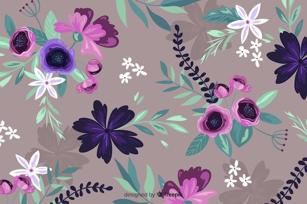 Bellissimo sfondo floreale dipinto a mano Vettore gratuito