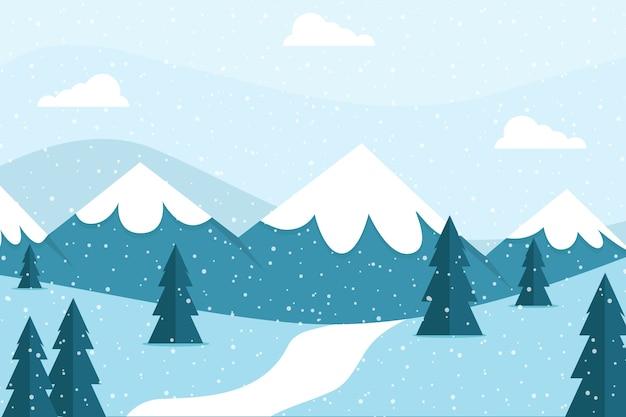 Bellissimo sfondo paesaggio invernale Vettore gratuito
