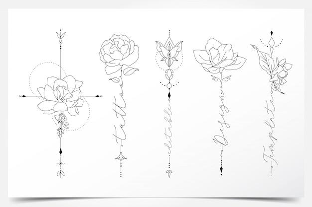 Bellissimo tatuaggio floreale modificabile femminile Vettore Premium