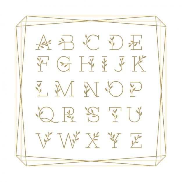 Bello alfabeto floreale monoline colection gold. Vettore Premium